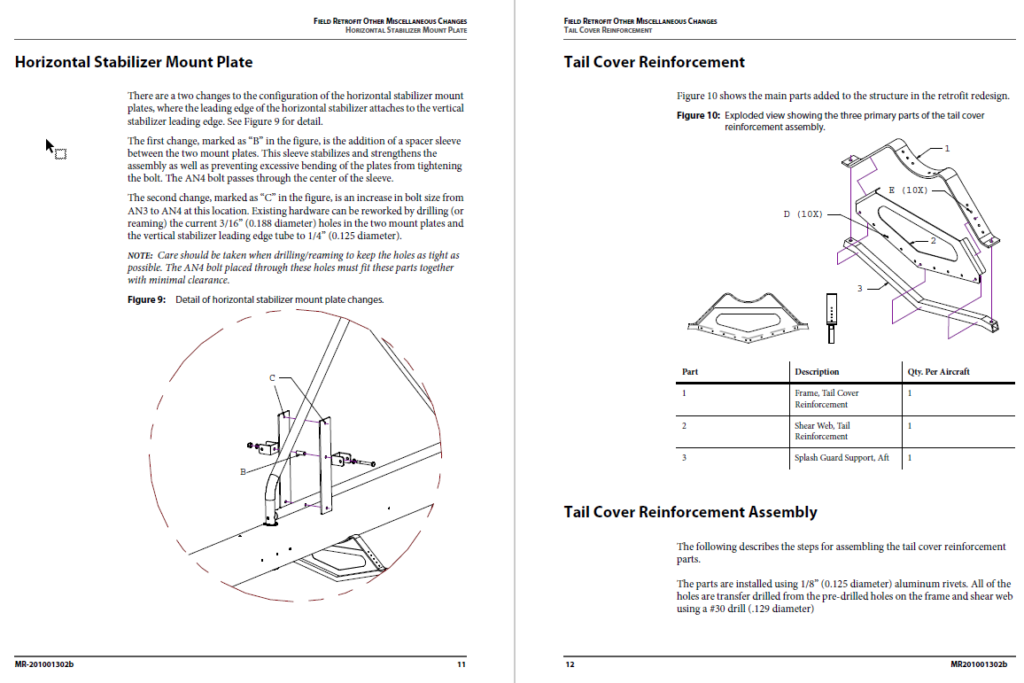 Excerpt from empennage rework procedure.